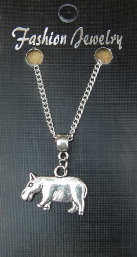 "18"" 24"" Inch Chain Necklace & Hippopotamus Pendant Charm Animal Lovers Hippo New"
